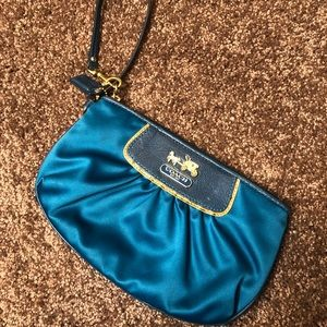 Coach Satin Wristlet With Gold Trim